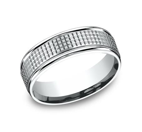 Benchmark White Gold 7mm Ring SKU RECF67471W
