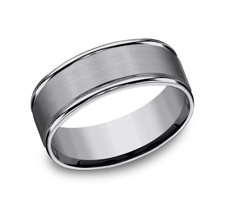 Benchmark White Gold 8mm Ring SKU RECF7802SW