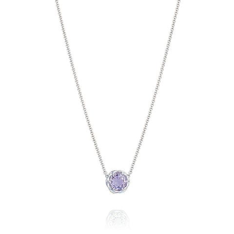 Lilac Blossoms Crescent Station Necklace Style # SN 20413