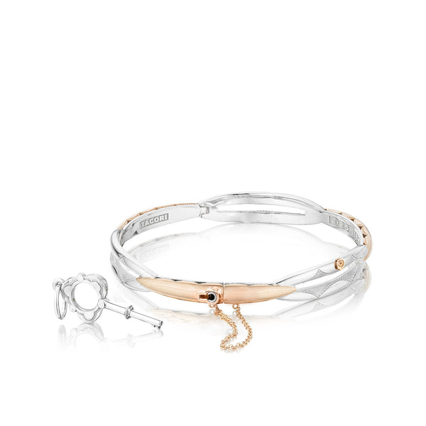 Promise Bracelet #SB-178-P Silver With 18K Rose Gold