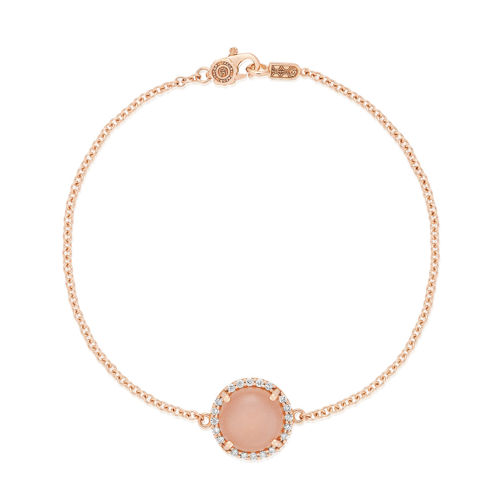 Moon Rose Cabochon Charm Bracelet featuring Peach Moonstone # SB180P36