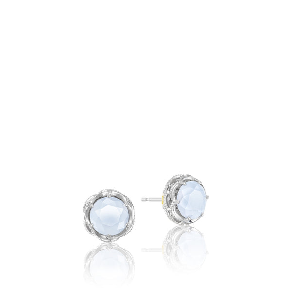 Classic Rock Crescent Crown Studs featuring Chalcedony # SE10503