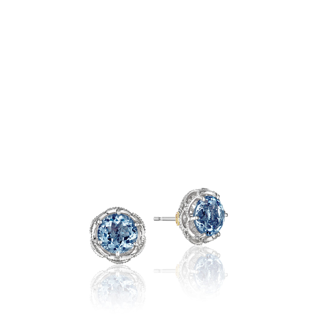 Island Rains Crescent Crown Studs featuring London Blue Topaz # SE10533