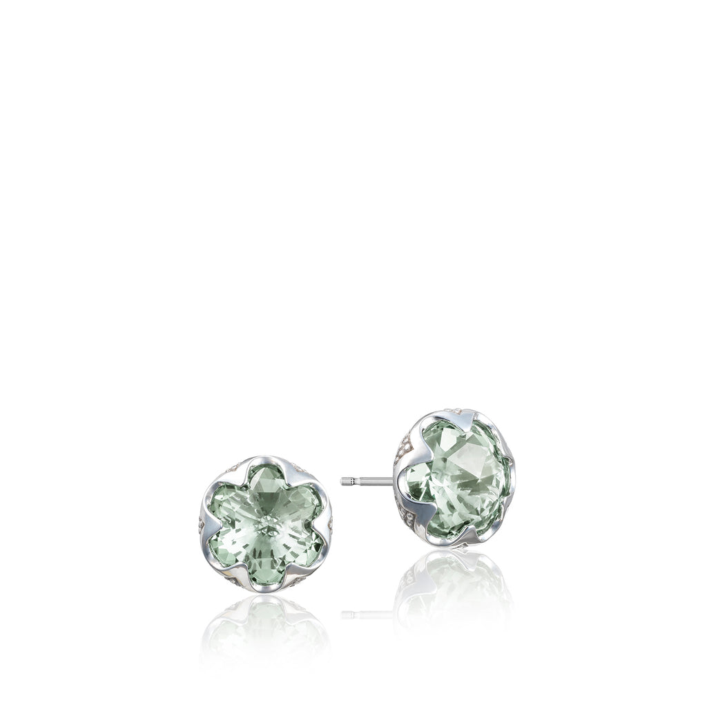 Sonoma Skies Crescent Bezel Earrings featuring Prasiolite # SE20812