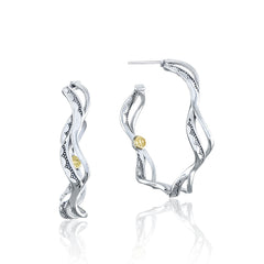 Crescent Cove Wave Hoop Earrings - Style #SE239