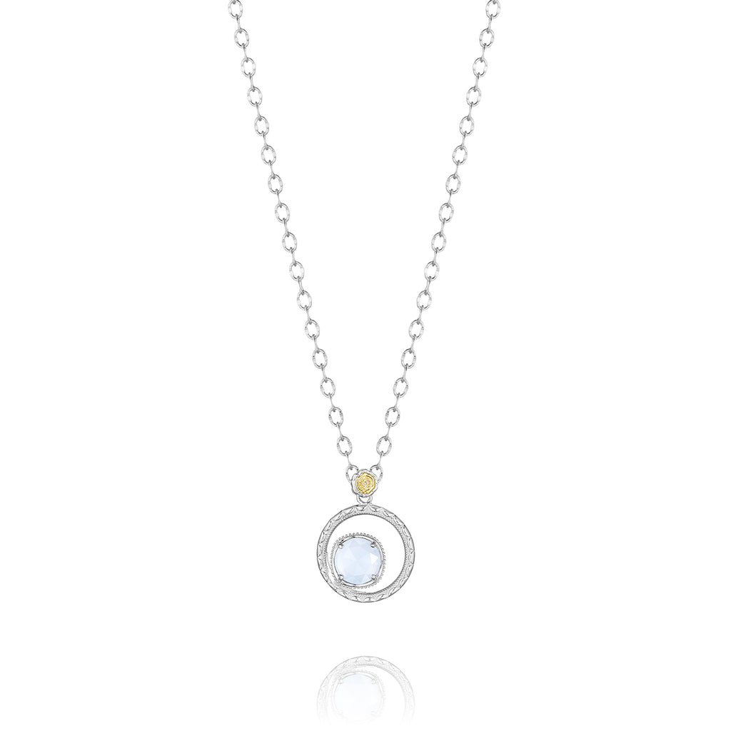 Classic Rock Silver Bloom Necklace featuring Chalcedony # SN14003