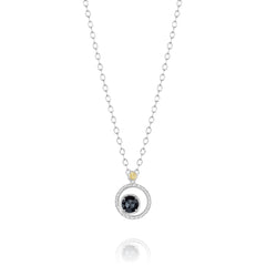 Classic Rock Silver Bloom Necklace featuring Black Onyx # SN14019