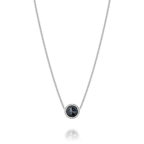 Classic Rock Floating Bezel Necklace featuring Black Onyx - Style #SN15319