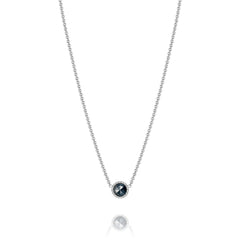 Classic Rock Petite Floating Bezel Necklace featuring Black Onyx # SN15419
