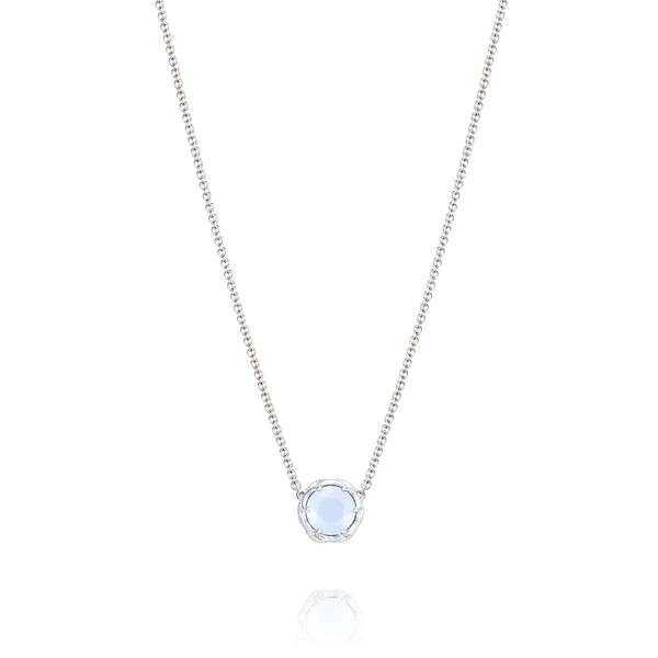 Classic Rock Crescent Station Necklace featuring Chalcedony # SN20403