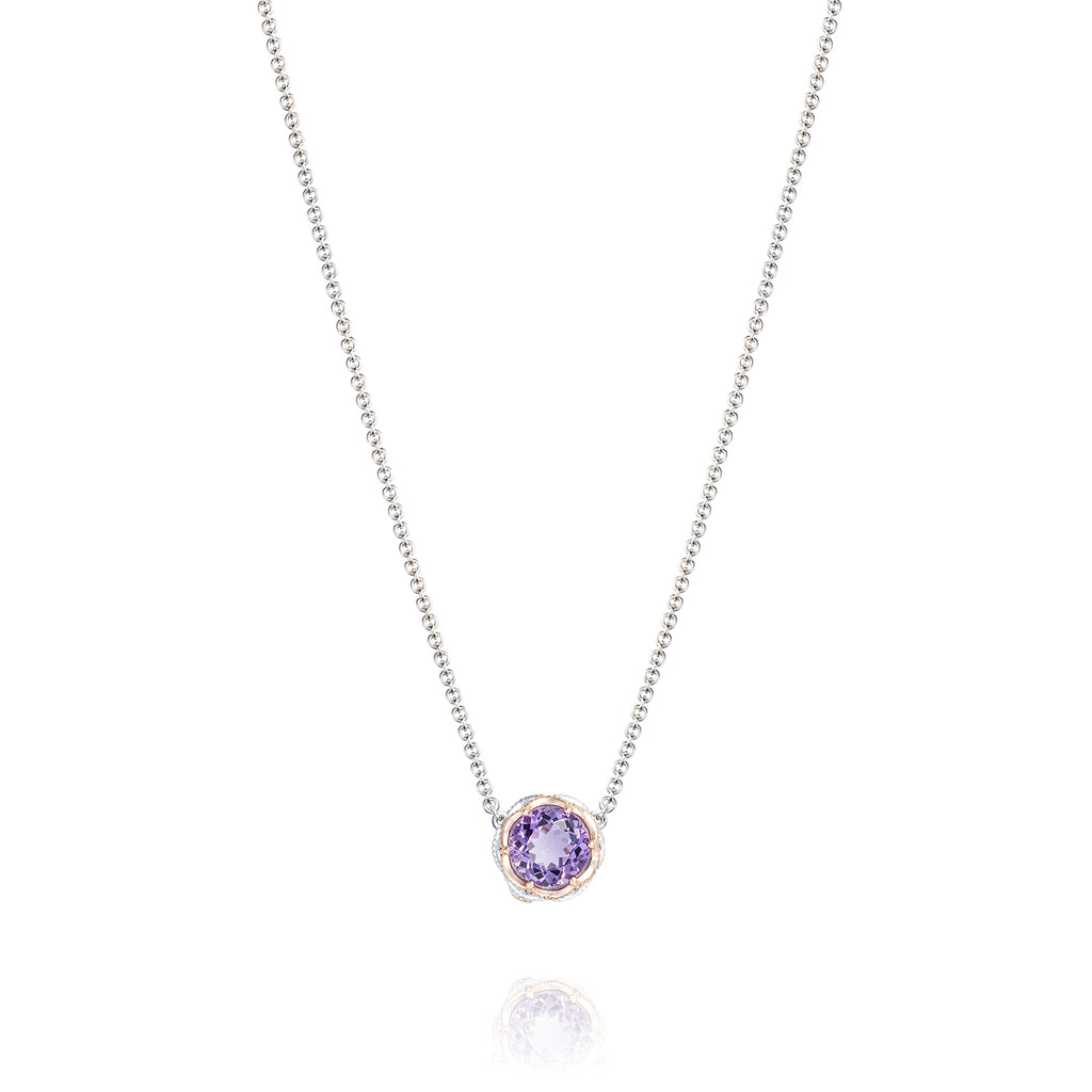 Lilac Blossoms Crescent Station Necklace featuring Amethyst # SN204P01