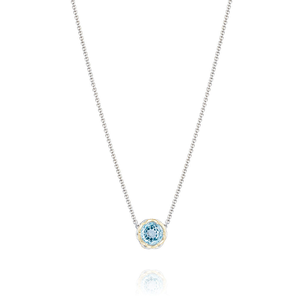 Island Rains Crescent Station Necklace featuring Sky Blue Topaz # SN204Y02