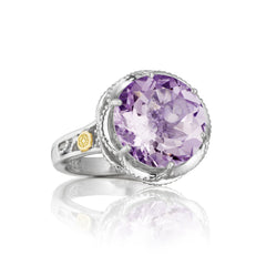 Lilac Blossoms Crescent Gem Ring featuring Amethyst # SR12301