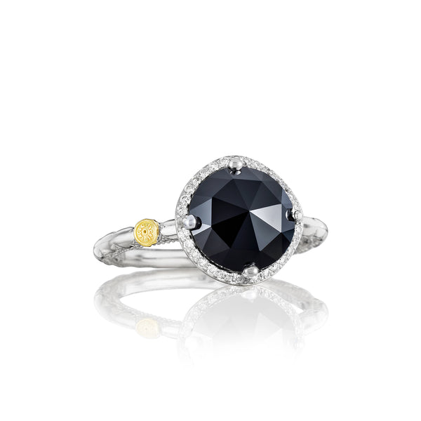 Classic Rock Pavé Simply Gem Ring featuring Black Onyx # SR14519