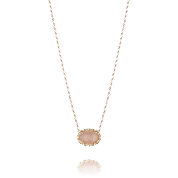 Moon Rose Oval Gem Coin Pendant # SN183P36