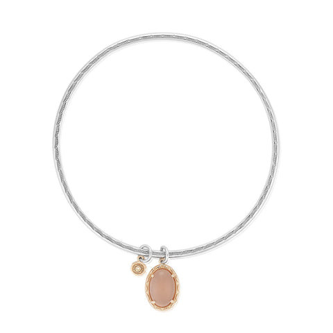 Moon Rose Oval Cabochon Charm Bangle featuring Peach Moonstone # SB176P36