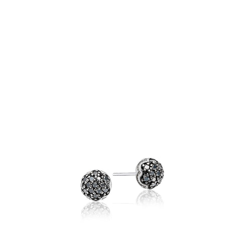 Sonoma Mist Simple Pave Dew Drop Studs featuring Black Diamonds Style #SE22544