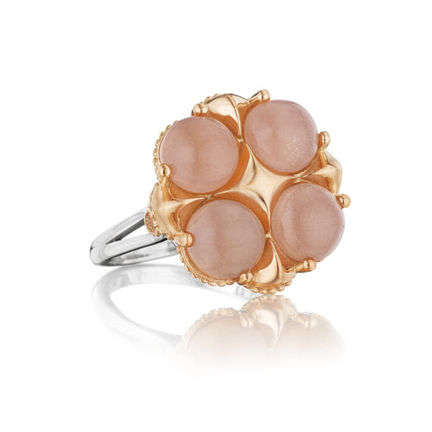 Moon Rose Lotus Four Gem Ring # SR174P36