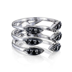 Ivy Lane Triple Stacked Surfboard Ring featuring Black Diamonds Style #SR19944