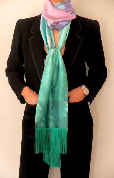 'Tie me up tie me down' fringed silk Astarte print scarf