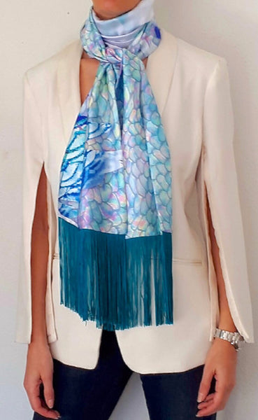 'Love me love me knot' fringed silk Pelagos print scarf