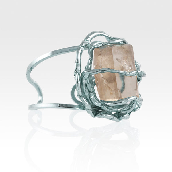 Angel's Nest Cuff Smoky Quartz Silver Side View