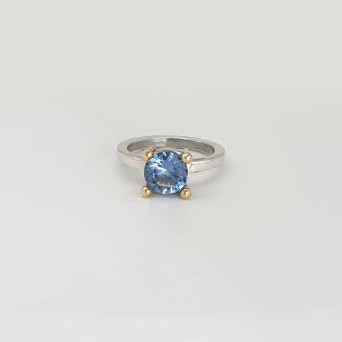 Aquamarine Ring Gold and Silver