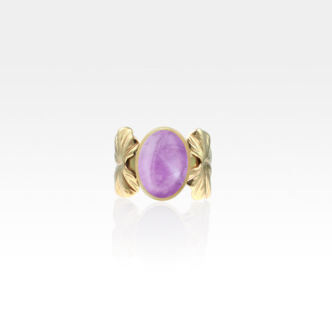 Art Deco Leaf Amethyst Ring