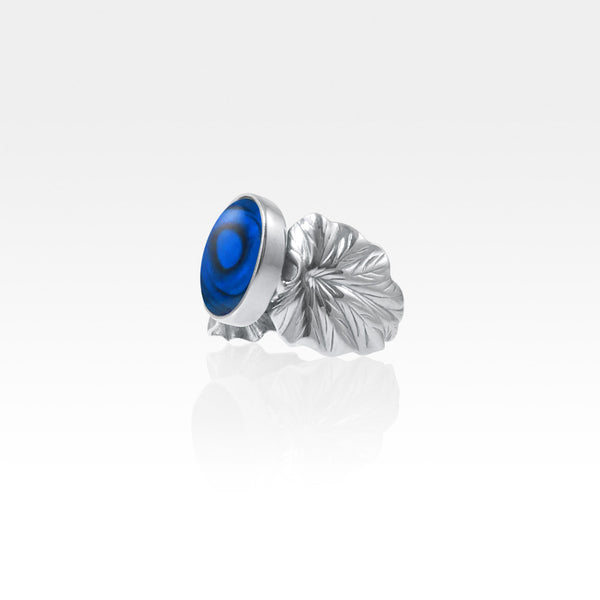 Art Deco Leaf Blue Abalone Ring Silver Side View