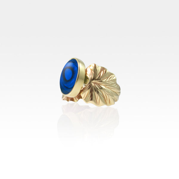 Art Deco Leaf Blue Abalone Ring Side View