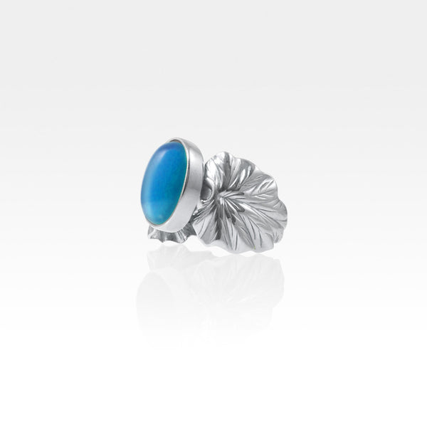 Art Deco Leaf Blue Onyx Ring Silver Side View
