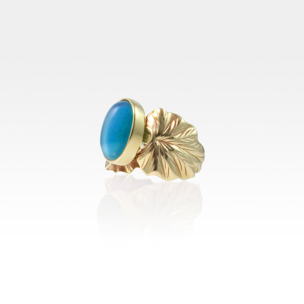 Art Deco Leaf Blue Onyx Ring Side View