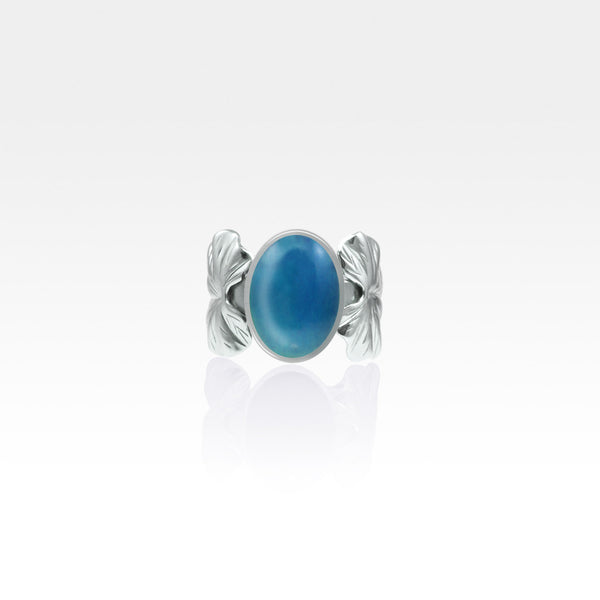Art Deco Leaf Blue Onyx Ring Silver