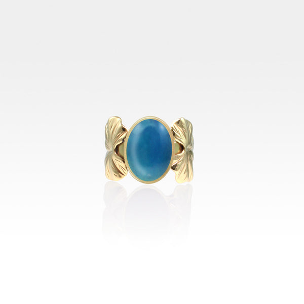 Art Deco Leaf Blue Onyx Ring