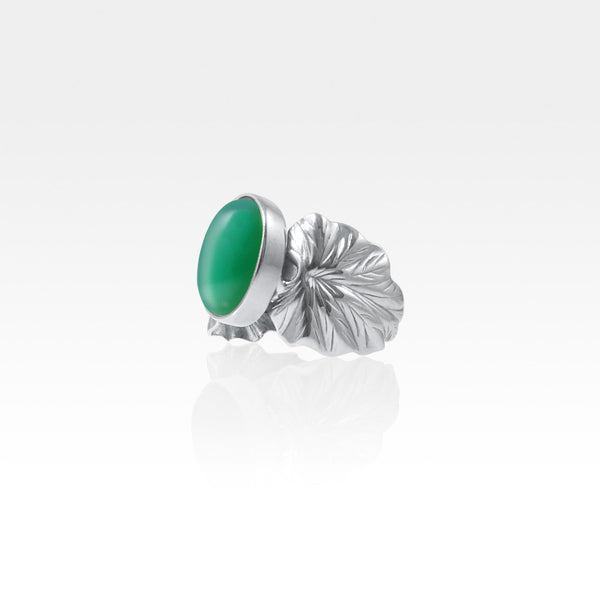 Art Deco Leaf Green Onyx Ring Silver Side View