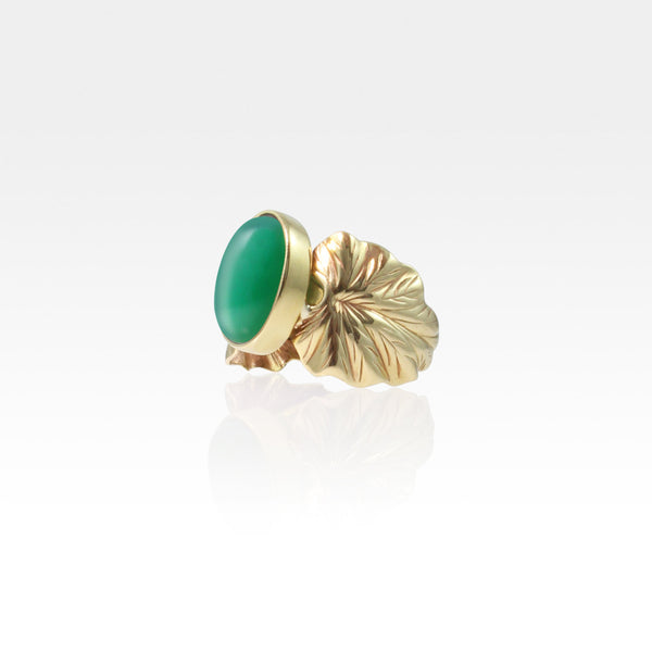 Art Deco Leaf Green Onyx Ring Side View