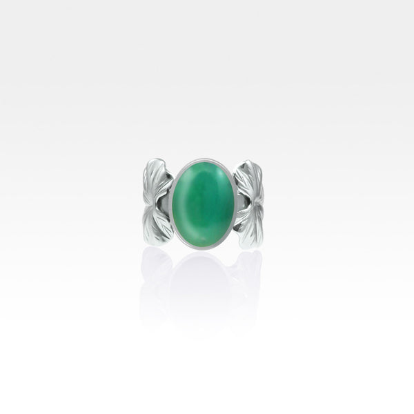 Art Deco Leaf Green Onyx Ring Silver