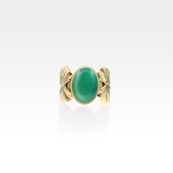 Art Deco Leaf Green Onyx Ring