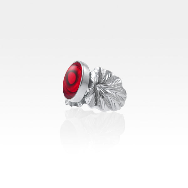 Art Deco Leaf Red Abalone Ring Silver Side View