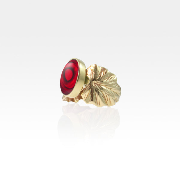 Art Deco Leaf Red Abalone Ring Side View