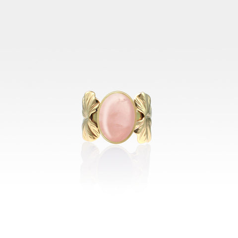 Art Deco Leaf Rose Quartz Ring