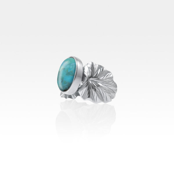 Art Deco Leaf Turquoise Ring Silver Side View