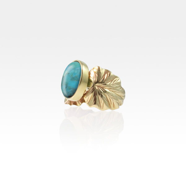 Art Deco Leaf Turquoise Ring Side View