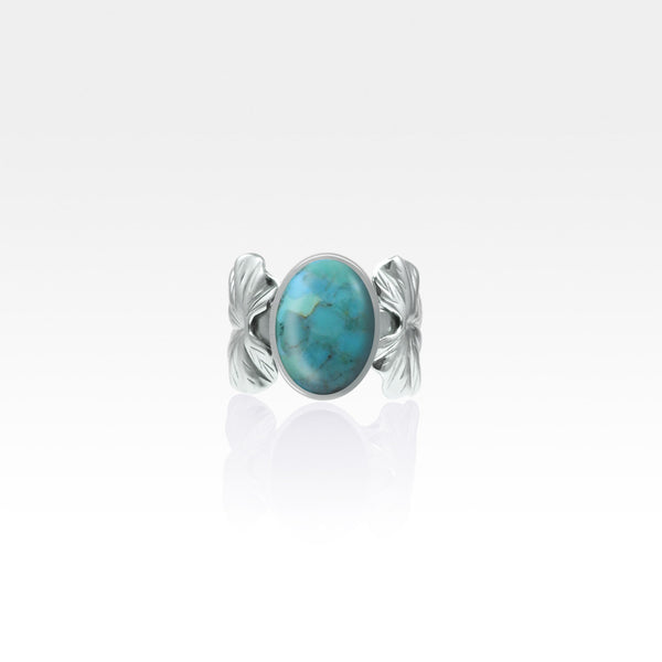 Art Deco Leaf Turquoise Ring Silver