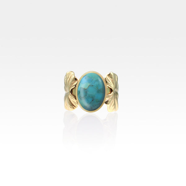 Art Deco Leaf Turquoise Ring