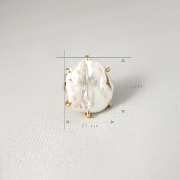 Baroque Pearl Ring Large Measurements