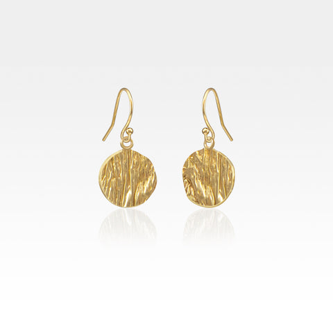 Beech Bark Circle Drop Earrings Small