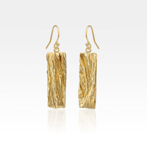 Beech Bark Rectangle Drop Earrings