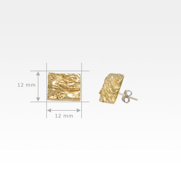 Beech Bark Square Stud Earrings Large Measurements