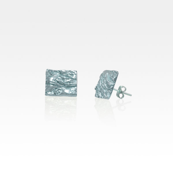 Beech Bark Square Stud Earrings Large Silver